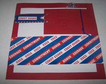 U. S. Coast Guard. Coast Guard gift. Premade layout. 12 x 12 scrapbook page. Gift for Coast Guard. Coast Guard gifts. Scrapbook layout.