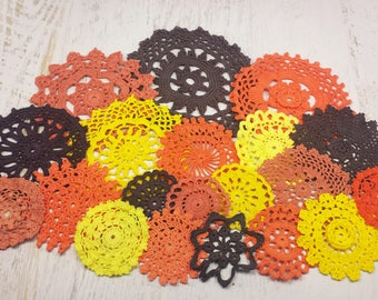 20 Halloween Color Craft Doilies, Yellow, Orange, and Black Crochet Medallions for Decorating and Crafts, 2 3 4 5 6 inch Doilies