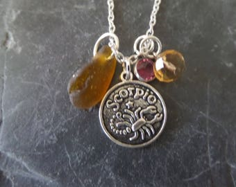Scorpio Zodiac Charm Necklace with Brown Scottish Sea Glass and October November Birthstone, Astrological Sign Jewelry, Gift from Scotland