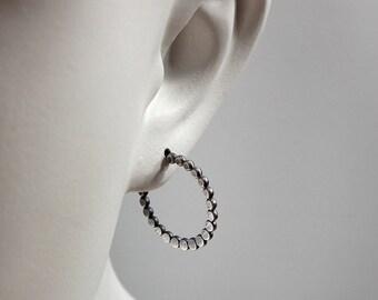 Bead Hoop Earrings, Hoop-Post Earrings, Oxidized Satin Finish
