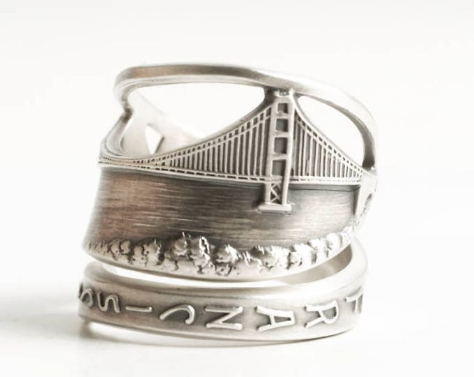 Golden Gate Bridge Ring, San Francisco Ring, Sterling Silver Spoon Ring, California Ring, Bay Area Gift, 925, Adjustable Ring Size (6878)