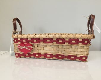 Love Basket with Leather Handles - Bread Basket - Valentines Day