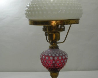 Vintage Cranberry Hobnail Milk Glass Hurricane Lamb With Marble Base FREE SHIPPING