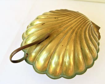 Vintage Large Brass Shell | Brass Serving Tray | Bath Caddy | Brass Container with Lid