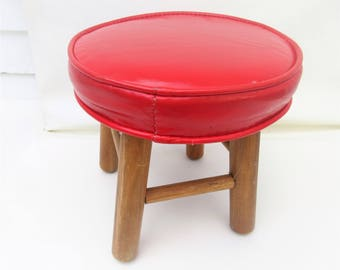 vintage wood stool wooden footstool small vinyl ottoman vinyl step stool kids