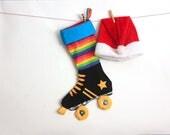 Skate Christmas Stocking:  Rainbow roller derby skate stockings (made to order)