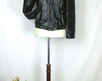 Vintage Black Women's Leather Motorcycle Jacket
