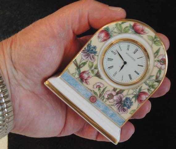 "Wedgwood Bone China ""SARAH"" Pattern Small Dome Clock.. Floral Design"