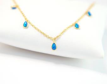 Blue Opal Necklace Gold, Opal Beaded Choker Necklace, Boho Jewelry, Layering Necklace, Tiny Opal Stones, Tear Drop Opal, Gemstone Jewelry