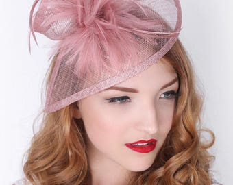 "Muave Fascinator - ""Victoria"" Muave Twist Mesh Fascinator Hat Headband with Muave Flighty Feathers"