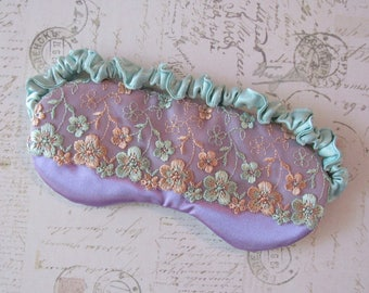 Pastel Floral Sleep Mask in Lavender, Mint, Peach // Lace & Satin Eye Mask