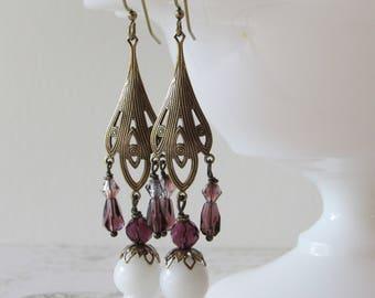Art Nouveau Amethyst & Milk Glass Dangles // Chandelier Earrings