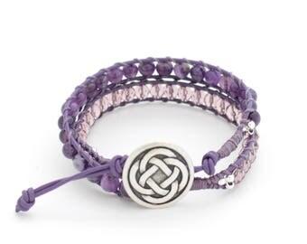 Amethyst Beaded Bracelet, 2 Wrap Bracelet, Boho Jewelry, Leather Beaded Bracelet, For Her, BeadXS, Boho Bracelet, Beads, Amethyst