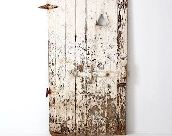 antique primitive door, large white wooden door