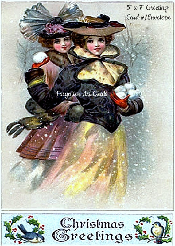 "Christmas Greetings,  5"" x 7"" Greeting Card with Envelope, Christmas Card, 2 Victorian Edwardian Girls, Snowballs, Pretty Girl Postcards"
