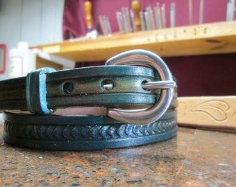 Womens blue belt, blue dress belt, gals belts , tooled belts , leather blue belts , tooled leather , Handmade belts , blue