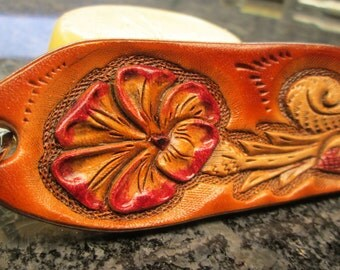 Handmade leather key chains, leather key rings, floral key fobs, custom tooled keychains,
