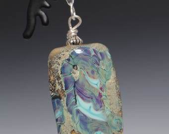 Earth tone Purple Turquoise Ivory Glass Lampworking Sterling Silver Pendant