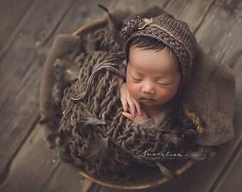 Newborn Photo Prop Bonnet Merino Newborn Bonnet Newborn Photo Prop Bonnet Newborn Boy Bonnet Baby Girl Bonnet Neutral Bonnet, Newborn Size