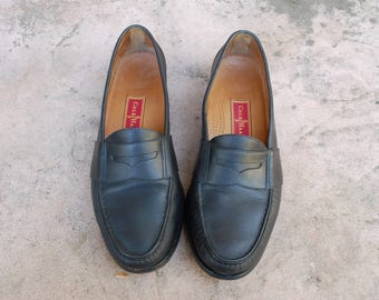 Vintage Mens 10.5d Cole Haan City Black Genuine Leather Slip On Penny Loafers Oxfords Wedding Suit Dress Shoes Hipster Classic High Fashion