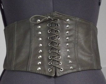 Khaki Green Eyelet Trim Lace Up Studs Leather look Corset Belt Cosplay Steampunk Halloween