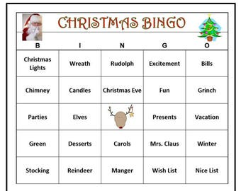 Christmas Party Bingo Game (60 Cards)  Christmas Holiday Bingo Words -Very Fun For All Ages! Print and Play!