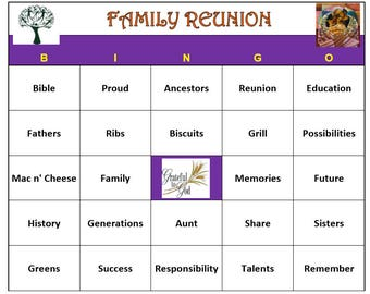 African American Family Reunion Bingo Game (60 Cards)  Reunion Family Themed Bingo Words -Very Fun! Print and Play!