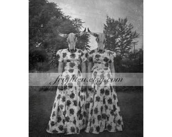 Halloween Wall Art, 8x10 Inch Print, Cow Skull Art, Black and White, Creepy Twin Sisters, Gothic Decor