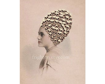 Halloween Decor, Skeleton Art Altered Vintage Portrait Photography of Woman with Skull Beehive Hair 5x7 or 8x10 Inch Print