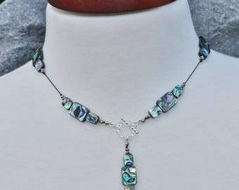 NEW Abalone Shell Long Silk Lariat Necklace,Paua Shell Crystal Necklace,Beach,Blue Green Rainbow,Gemstone Pendant,Gift For Her,Toggle Clasp