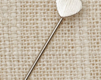 Etched Heart Stick Pin Silver Small Vintage Stickpin 7R