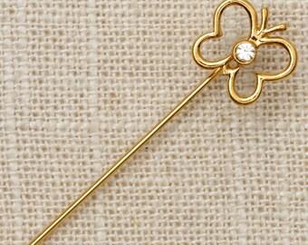 Gold Butterfly Stick Pin Rhinestone Vintage Stickpin 7R