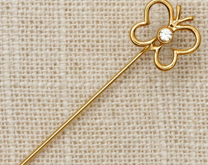 Gold Butterfly Stick Pin Rhinestone Vintage Stickpin 7R