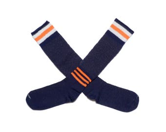 vintage 80s tube socks wool blend hiking socks navy blue orange white stripe soccer lacrosse field hockey Syracuse UVA