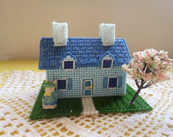 Blue Easter House Village bunny