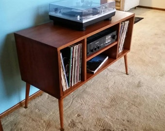 Record Player Stand Mid Century Modern As Entertainment Center Furniture  With Vinyl Storage And Handmade