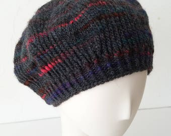Hand Knit Ginger Beret in Orbit Mix – Adult One Size