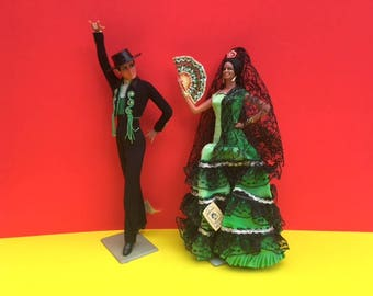 Vintage 60s 70s 80s Kitsch Spanish Dancing Couple, Flamenco Dancer Doll