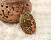 Unakite Tree of Life wire-wrapped pendant