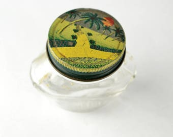 Vintage Kitchen Home Decor Glass Jar with Lithograph Lid Painted Scene