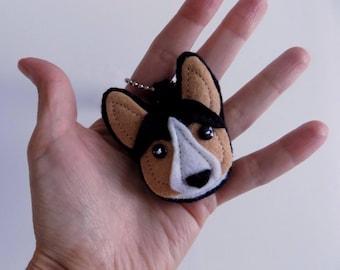 Tricolor Welsh Corgi Dog Keychain Mini Mascot Charm by Allenbrite Studio