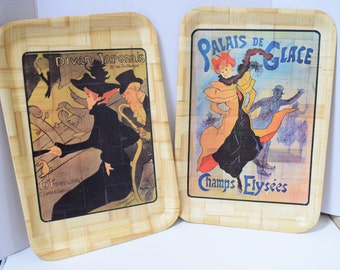 Set of 2 Vintage  Bamboo Serving Tray, Bamboo Tray, Bamboo Houseware, Paris scene tray, Paris poster tray