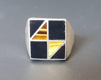 Men Tiger Eye Onyx Ring Vintage Sterling Taxco Ring Size 10 3/4