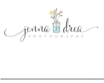 Premade Logo Photography Logo Mason Jar Logo Wild Flowers floral logo florist logo Blog Logo blog header logos sewing logos jewelry logos