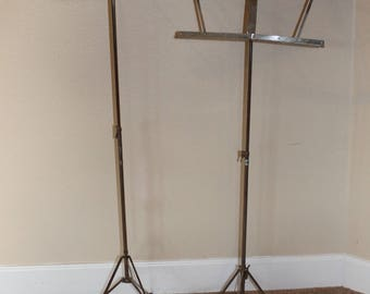 2 VTG Music Stand In Cases Belmonte Taiwan Metal Fold Up Portable