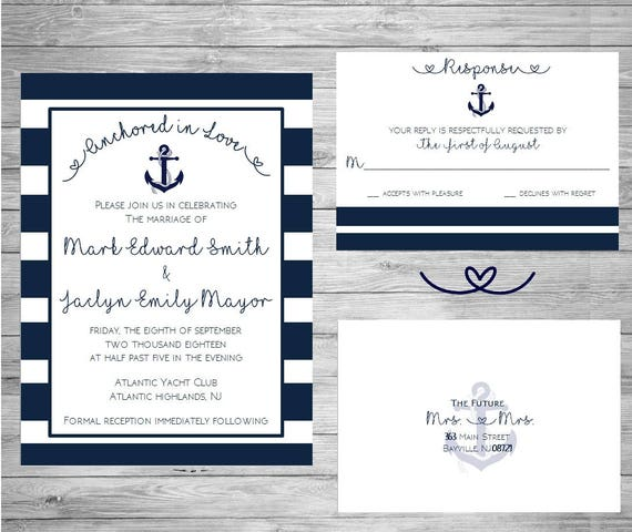 Nautical Wedding Invitation - Anchor Wedding Invitation