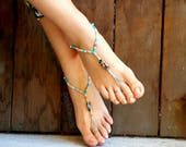 OSFA Cotton Barefoot Sandals Hippie Jewelry Festival Beach Summer Accessories Handmade Bohemian Sandals Gypsy Earthing Soleless Shoes Water