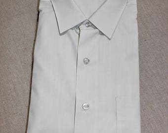 vintage 1960's -Archdale 'Perform'- Men's long sleeve shirt. 'New old Stock'. Pale Gray Green - Batiste. Large - Extra Large 17 x 34