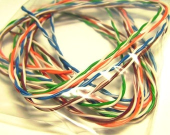 24 Inches x 8 Vintage Telephone Wire - Twisted Multi- Color Wire