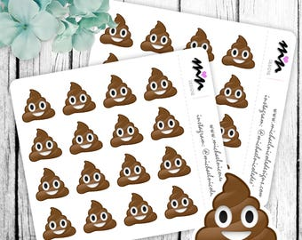 Emoji, Poop Emoji Stickers, Poop Stickers, Emoji Stickers great for  Planner, Envelope Seals, Gift Bags or Just for Fun - MN063